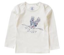 Langarmshirt für Mädchen blau / naturweiß