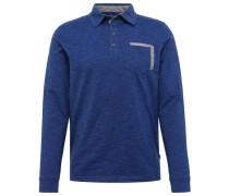 Langarm-Poloshirt in Melange-Optik blau