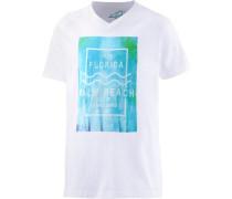 T-Shirt türkis / weiß