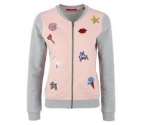 Sweatjacke im College-Look grau / rosa