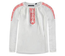 'Tunika' langärmlig rot / weiß