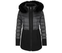 Eleganter Mantel im Materialmix schwarz