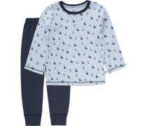 Schlafanzug für Jungen hellblau / dunkelblau