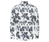 Formelles Slim Fit - Langarmhemd nachtblau / weiß