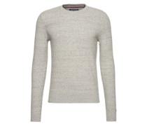Pullover in Waben-Strick grau
