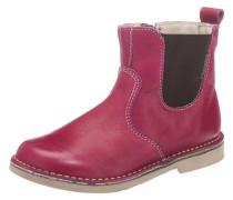 Chelsea Boots Lederfutter Weite M für Mädchen dunkelbraun / fuchsia