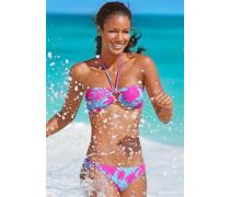 Bandeau-Bikini hellblau / neonpink