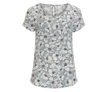 Bluse mit Blüten und Rundhalsausschnitt opal / dunkelblau / weiß