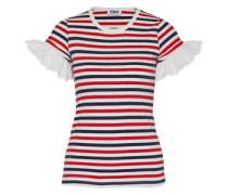 T-Shirt 'Raye MC' blau / rot / weiß
