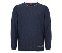 Pullover mit abgesetzten Rollsäumen blau