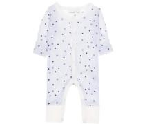 Woll-Schlafanzug ultramarinblau / weiß
