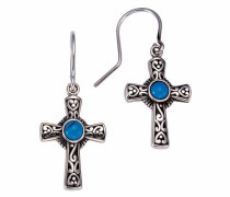 Paar Ohrhaken »Kreuz« himmelblau / silber