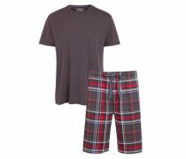 Pyjama kurz grau / rot