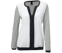 Shirtbluse grau / weiß