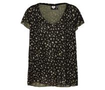 T-Shirt mit Print oliv / schwarz