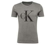 T-Shirt mit Logo-Print grau / schwarz