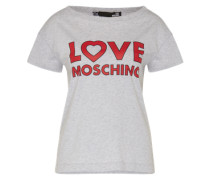 T-Shirt mit Label-Print grau