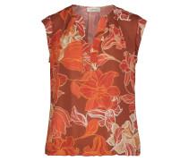 Kurzarm-Bluse mit Muster orange