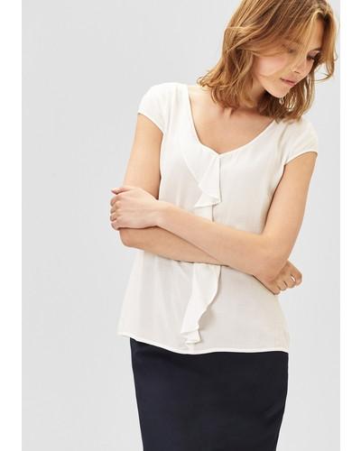 oliver damen s oliver premium bluse mit r schenblende wei. Black Bedroom Furniture Sets. Home Design Ideas