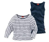 2-in-1-Shirt (2 Stück) blau / weiß