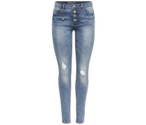 Skinny Fit Jeans 'Carmen reg destroyed' blue denim