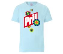 T-Shirt 'Pril - Logo' hellblau / rot