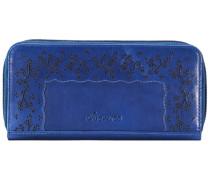 Ledergeldbörse - 19 cm blau