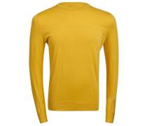 C-Ausschnitt Baumwollkrepp-Strickpullover Mikael gelb