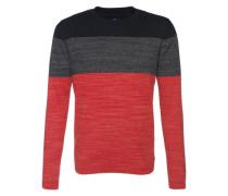 Pullover in Blockstreifen rot