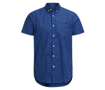 Bedrucktes Kurzarmhemd blau
