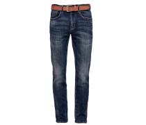 Tubx Straight: Used-Jeans mit Gürtel