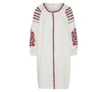 Blusenkleid mit Stickerei weinrot / weiß