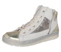 Sneaker High mit Reißverschlüssen weiß / silber