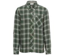 Kariertes Langarmhemd grün / naturweiß