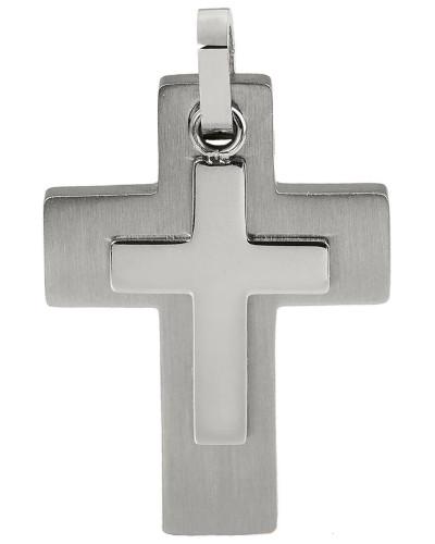 Kettenanhänger 'Kreuz' grau