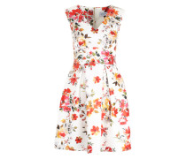 Ausgestelltes Kleid mit Blüten-Print mischfarben / rot / weiß