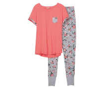 Schlafanzug 'Alec Cas' grau / koralle