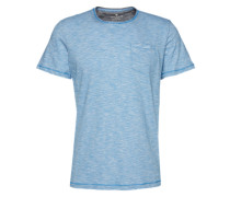 T-Shirt 'fine striped trademark tee' blau