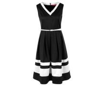 Sommerkleid aus Baumwollsatin schwarz / weiß
