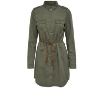 Detailreiches Kleid mit langen Ärmeln oliv