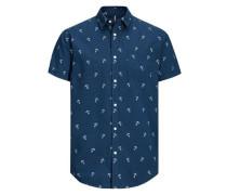 Print-Kurzarmhemd blau / weiß