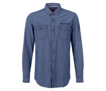 Regular: Texturiertes Casual-Hemd blue denim