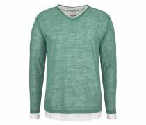 Rundhalspullover smaragd / weiß