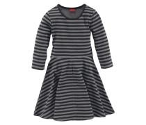 Jerseykleid mit 3/4-Ärmel für Mädchen grau / schwarz