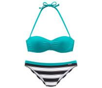Wire Balconnet Bikini petrol / schwarz / weiß