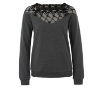 Sweater mit Spitze grau