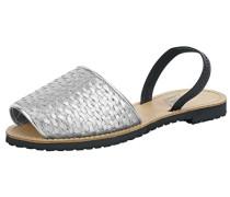 Sandalen im Flecht-Look silber