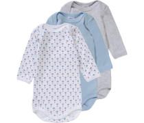 Bodys 3er-Pack für Jungen hellblau / graumeliert / weiß
