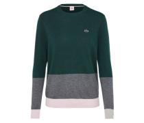 Feinstrick Pullover grau / grün / rosa
