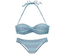 Bügel-Bandeau-Bikini mit abnehmbaren Trägern türkis